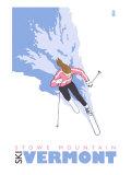 Stowe Mountain  Vermont  Stylized Skier