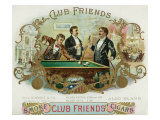 Club Friends Brand Cigar Box Label  Billards