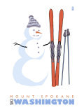 Mount Spokane  Washington  Snowman with Skis
