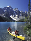 Couple Canoeing on Moraine Lake  Banff National Park  Alberta  Canada