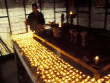Buddhist Lights for Prayer Ceremony at Bodhnath Stupa  Nepal