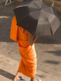 Monk Walking With Umbrella  Thailand