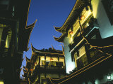 Night View of Traditional Architecture at Yuyuan Bazaar  Shanghai  China