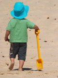 Little Boy and Spade on Beach  Gold Coast  Queensland  Australia