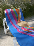 Hat and Towel on Lounge Chair  Aruba  Caribbean