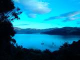 Sailboats at Anchor  Akaroa Peninsula  New Zealand