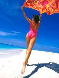 Woman Running on Pristine Beach  Caribbean