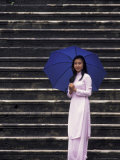 Girl With Umbrella on Stone Steps of Tomb of Khai Dinh  Vietnam