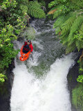 Kayak in Tutea's Falls  Okere River  New Zealand