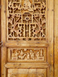 Traditional Wood Screen Door with Intricate Carving  China