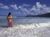 Woman in Surf  British Virgin Islands  Caribbean