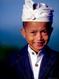 Boy in Formal Dress at Hindu Temple Ceremony  Indonesia
