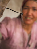 Uighur Woman Drawing Silk Thread From Cocoons  Silk Road  China