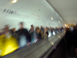 Blurred Metro Automatic Walkway  Paris  France