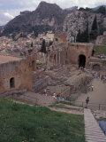 Greek Theater in Taormina  Sicily  Italy