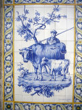 Tile Decoration of Peasant and Cow with Calf  Lisbon  Portugal