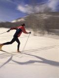 Woman Skiing Classic Nordic Style  Park City  Utah  USA