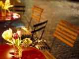 Cafe Table on a Winter Evening  Oberdorfstrasse  Zurich  Switzerland