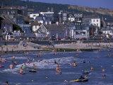 Bathers on Beach  Lyme Regis  Dorset  England