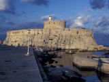 Fort St Nicholas and Mandraki Harbor  Rhodes  Greece