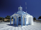 Agios Nicoolaos Church and Checkered Pavement  Cyclades Islands  Greece