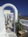 Chora Houses  Blue Aegean Sea  and Agave Tree  Cyclades Islands  Greece