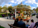 Families on Carousel  Beaune  Burgundy  France