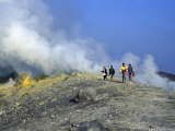 Trekkers on the Crater's Edge  Volcano Island  Sicily  Itlay