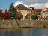 Buildings along Saone River  Burgundy  France
