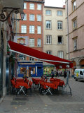 Cafe on Cobblestone Street  Rhone-Alps  Lyon  France