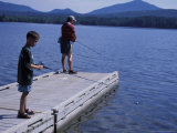 Fishing on Webb Lake  Mt Blue State Park  Northern Forest  Maine  USA
