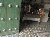Wooden Doors and Colonial Architecture Lead to the Tiled Foyer  Church at Mitla  Oaxaca  Mexico