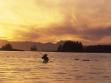 Solo Kayaker Enjoys Sunset  Ketchikan  Alaska  USA