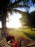Woman Relaxing in Hammock  Hawaii  USA
