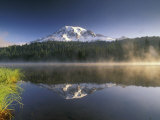 Mt Rainier Reflecting in Lake  Mt Rainier National Park  Washington  USA