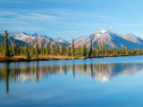Lake and Mountains along Denali Highway  Autumn  Alaska  USA