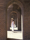 Woman at Fort Jefferson  Garden Key  Dry Tortugas  Florida  USA