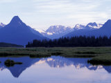 Chugach Range Mountains line Valdez Harbor  Prince William Sound  Alaska  USA