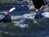 Kayakers at Velvet Falls  Salmon River  Frank Church River of No Return Wilderness  Idaho  USA