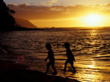 Kids on Beach at Sunset  Hawaii  USA