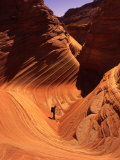 Hiker Enjoys Swirling Navajo Sandstone  Vermillion Cliffs  Arizona  USA