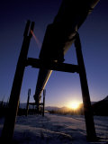 Winter Sunset on the Trans-Alaska Pipeline  Brooks Range  Alaska  USA