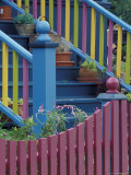 Colorful Fence and Stair Railing  Pacific Grove  California  USA
