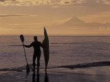 Surf Kayaker Checks Out the Surf  Alaska  USA