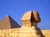 Close-up of the Sphinx and Pyramids of Giza  Egypt