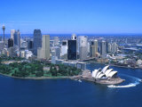 Aerial of Opera House and City  Sydney  Australia
