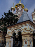 Gold Onion Dome of Alexander Nevsky Cathedral  Russian Orthodox Church  Yalta  Ukraine