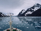 Bow of a Cruise Ship  Channel of the Southern Ocean with Antarctic Mountains