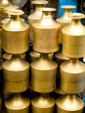 Stack of Brass Milk Jugs in Durbar Square  Kathmandu  Nepal