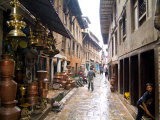 Wet Back Street Scene in Bhaktapur Town  Kathmandu  Nepal